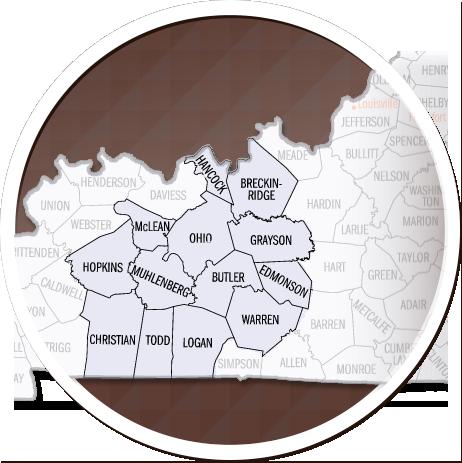 Southern Kentucky county map
